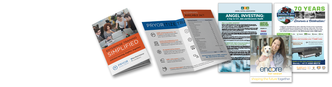 Sell Sheets, Sales Slicks, Brochures, & Leave-Behinds